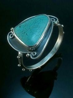 Turquoise hinged bracelet: www.cavanadesign.com -for inquiries....wow