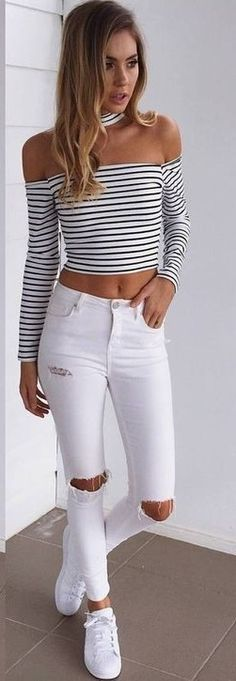#summer #musthave #outfits | Striped Crop + Denim