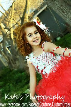 Glitz pageant red christmas babydoll dress N16  by PageantCouture, $335.00