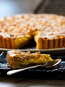 Torta della Nonna (custard and pine nut tart) from my show Silvia's Italian Table Serve Kitchen Recipes, Baking Recipes, Dessert Recipes, Desserts, Italian Table, Home Chef, Custard, Favorite Recipes, Cooking