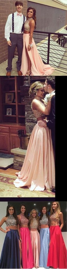 2017 Custom Made Charming Two Pieces Prom Dress,Beading Evening Dress,Halter Prom Dress,Side Slit Evening Dress