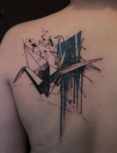 cool abstract on back | watercolor tattoos