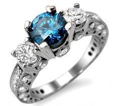 2.47ct Blue 3 Stone Round Diamond Vintage Style Engagement Ring 18k White Gold