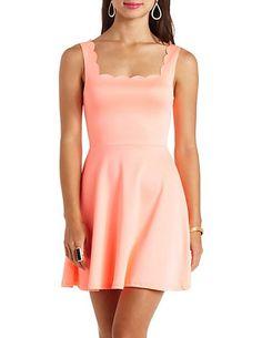 Scalloped Sleeveless Skater Dress: Charlotte Russe