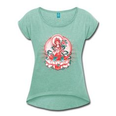 Tara - Tibet Buddhism, Lotus, Meditation, Yoga, Om T-Shirts - Women's T-shirt with rolled up sleeves
