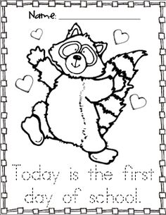 kissing hand activities free chester the raccoon coloring page first day of school with the kissing hand story - First Day Of School Coloring Page