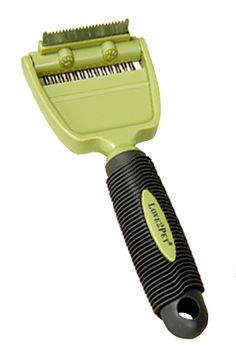 Most awesome pet brush ever. We have two dogs and two cats, and have tried many grooming tools. This one rocks. It has a de-shedding tool that you use first, and then you use the rake brush to pull off the loose hair. Unbelievable piles of pet hair, and happy animals. They all congregate when I get it out now.