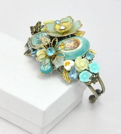 Vintage Jewelry Collage Cuff Bracelet
