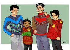 Batboys in Christmas sweaters.