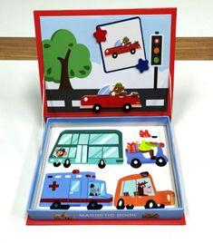 Magnetic Puzzle book jigsaw -Animal Drives around Magnetic Book, Wooden Jigsaw Puzzles, Puzzle Books, Pinball, Transportation, Magnets, Have Fun, Xmas, Creative