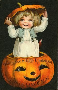 """""""Wishing you a Highly Entertaining Halloween!""""  1920s Vintage Postcard"""