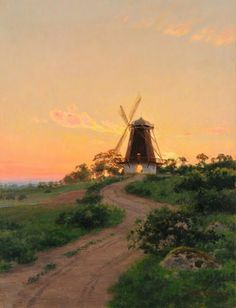 Windmill at sunset, 1927.  Swedish Artist Johan Krouthen (1858–1932)