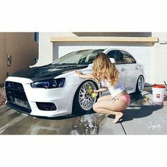 Ww Mitsubishi Lancer Evolution x girl car wash