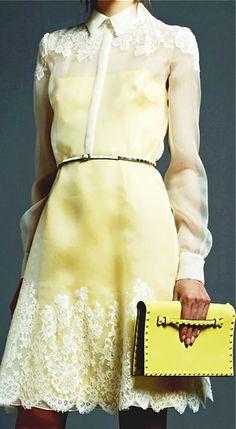 ~ Living a Beautiful Life ~ pale yellow- Valentino Resort 2013 Moda Fashion, High Fashion, Womens Fashion, Valentino Resort, Dress Me Up, Fashion Details, Passion For Fashion, Beautiful Dresses, Beautiful Boys
