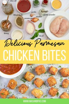 Parmesan Chicken Bites - The best chicken nuggets you will ever have - crisp-tender and completely homemade with Parmesan. These chicken parmesan bites are the perfect toddler-approved meal for busy weeknights! #chickenbites #parmesanchickenbites #kidfriendlyfood #chickennuggets Toddler Dinner Recipes, Healthy Toddler Meals, Toddler Food, Healthy Kids, Healthy Snacks, Chicken Bites, Chicken Nuggets, Easy Family Meals, Kids Meals