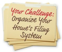 How to organize files and create home filing system to keep track of all your home's paper {part of the 52 Week Organized Home Challenge on Home Storage Solutions Receipt Organization, Organizing Paperwork, Household Organization, Home Office Organization, Paper Organization, Organizing Your Home, Organizing Ideas, Organising, Organize Receipts