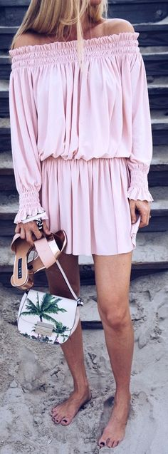 #summer #outfits / pink off the shoulder playsuit