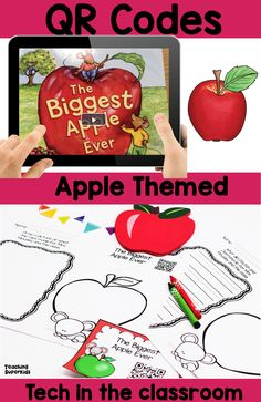 Apple theme Listening Center https://www.teacherspayteachers.com/Product/Apple-Themed-QR-Codes-for-your-Listening-Center-2750406 QR Codes include popular stories all about apples. These are fantastic for September or your apple unit