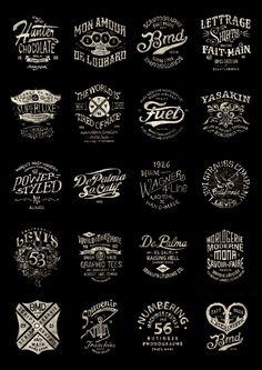Série de logo lettrages sur fond noir réalisés à la main par le graphiste typographe de Bmd Design.