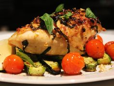 Basil & Lemon Roasted Chicken - The Banting Chef Roast Chicken Recipes, Meat Recipes, Paleo Recipes, Low Carb Recipes, Real Food Recipes, Dinner Recipes, Yummy Food, Paleo Meals, Healthy Family Meals