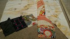 Japanese silk, wool, synthetic kimono fabric lot, butterfly, girls ceremonial