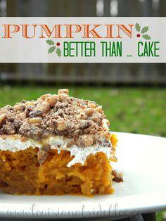 Pumpkin Better Than ... Cake. Just like the Heath bar cake I make except pumpkin. Hmm