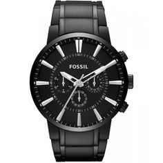 Fossil Men's Stainless Steel Watch with Link Bracelet: Watches (Men's Watches): Fossil Chronograph Stainless Steel Watch (Black) Black Stainless Steel, Stainless Steel Watch, Stainless Steel Bracelet, Herren Chronograph, Amazing Watches, Cool Watches, Men's Watches, Wrist Watches, Jewelry