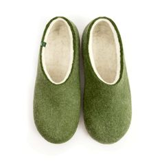 Wooppers BLISS olive green felted wool slippers