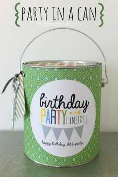 Party in a Can - Easy birthday gift idea for your college student with a free printable