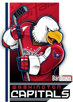 Fabulously wicked eagle mascot for the Washington Capitals, courtesy of Eric… Caps Hockey, Hockey Logos, Nhl Logos, Hockey Games, Sports Logos, Sports Teams, Creative Logo, Washington Capitals Hockey, Eagle Mascot