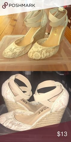 Report lace wedges Report cream lace wedge with elastic straps that go around ankle Report Shoes Wedges