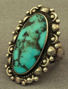 Blue with Black Matrix Turquoise Ring, Jewelry by  Navajo