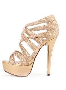 Shimmering Golden Euramerican Style Cross Strap Upper Platform Women Sandals