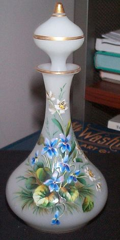 Opaline Cologne/Perfume Bottle with Raised Enameled Decorations
