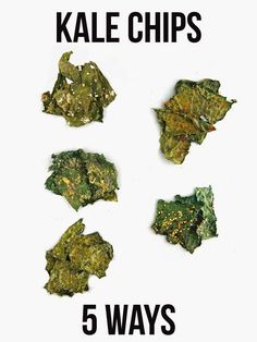 Kale Chips 5 WaysYou can find Kale chips and more on our website.Kale Chips 5 Ways Chips Kale, Healthy Kale Chips, Making Kale Chips, Baked Kale Chips, Chips Chips, Veggie Chips, Vegan Snacks, Healthy Snacks, Lunches