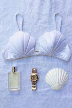 White Shell Shape Halter Bikini