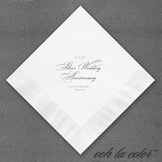 Silver Wedding Anniversary Napkin