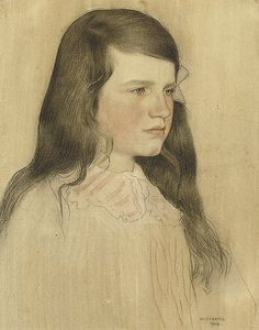 Portrait of a young girl | William Strang, R.A. (1859-1929)