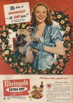 Vintage Valentine's Day Rheingold Beer ad from 1947.