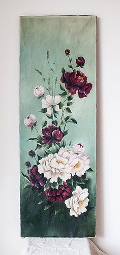 Victorian Oil Painting of Peonies on Canvas