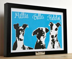 These paper cut portraits have been entirely hand cut from a single sheet of high quality white paper, backed with black and then cut again before being backed onto your choice of backing colour and framed. A perfect treasured keepsake of your favourite photograph whether a family member or pet, a beautiful piece to have as a pet memorial gift too. This black and white layered paper cut is framed in an A4 frame in either black / white / wooden effect - the frame size is approx. 13x9...