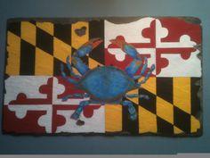 Chesapeake Bay Blue Crab and Maryland State Flag via Etsy