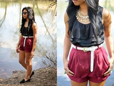 Burgundy Shorts (by Sharena C.) http://lookbook.nu/look/3229559-Burgundy-Shorts