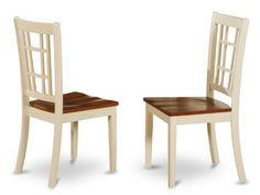 East West Furniture NIC-WHI-W Dining Chair Set with Wood Seat, Buttermilk/Cherry Finish, Set of 2