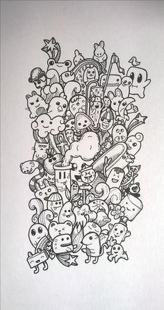 Doodle kawaii chibi par milo doodle & monster coloring pages Cute Doodle Art, Doodle Art Designs, Doodle Art Drawing, Cool Art Drawings, Art Drawings Sketches, Graffiti Doodles, Graffiti Drawing, Graffiti Art, Kawaii Doodles