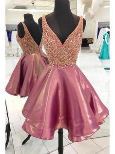 Pink Beaded Homecoming Dress,Luxury Mini Short Prom Dress,V-Neck Homecoming Dress on Luulla Dresses Short, A Line Prom Dresses, Party Dresses, Formal Dresses, Dress Prom, Prom Gowns, Evening Dresses, Maxi Dresses, Wedding Dresses
