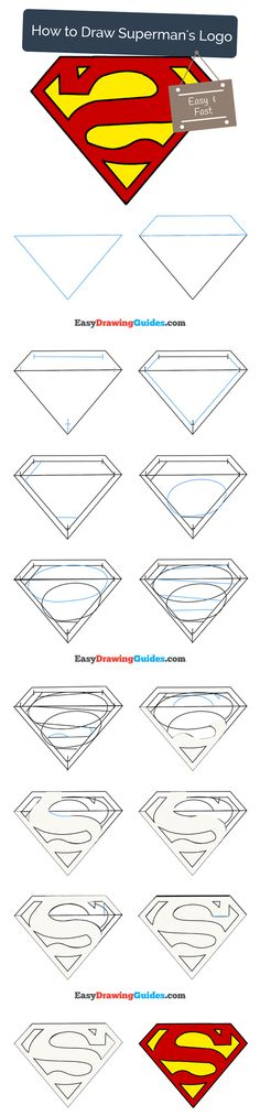 Learn How to Draw the Superman Logo: Easy Step-by-Step Drawing Tutorial for Kids and Beginners. #Superman Logo #drawingtutorial #easydrawing See the full tutorial at https://easydrawingguides.com/how-to-draw-superman-logo/.