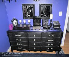 """Painted chest of drawers Painted Rast dog bed Curtains Valances Curtain rods: Home Depot Wall paint: Behr """"Wizard's Potion"""" Lamp. Bedroom Wall Decor Above Bed, Bedroom Decor, Bedroom Ideas, Chest Of Drawers Makeover, Diy Framed Art, Diy Platform Bed, Gothic Bedroom, Goth Home Decor, Painted Chest"""