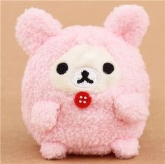 mini Rilakkuma white bear as pink bunny plush toy by San-X from Japan