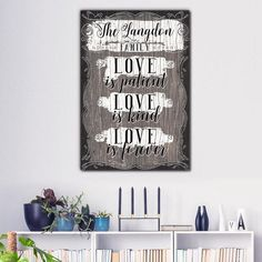 "BRAND NEW!! Add your family name to this wonderful design!  For a limited time - add your chosen names at NO EXTRA COST!  ""____ Family: Love is patient, love is kind, love is forever"" Quote on beautiful wooden image backdrop, premium printed canvas.  ADD YOUR NAMES, SELECT YOUR REQUIRED SIZE THEN CLICK ""ADD TO CART"" TO BUY.  To avoid disappointment, please double check spellings on details entered, before completing your order.  Limited time run of this print! Be sure to order while you can!"